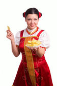 German woman with potato chips — Stock Photo
