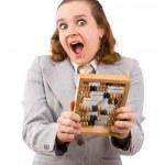 木制算盘做买卖的商人 — 图库照片
