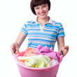 Housewife with laundry basket. — Stock Photo