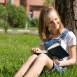 Stock Photo: Student studying on grass