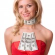 Woman in red dress with dollars. — Photo #3322253