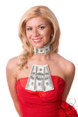 Woman in red dress with dollars. — Stock Photo