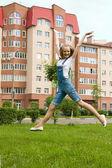 Girl is jumping — Stockfoto