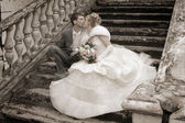 świeżo poślubiona para — Zdjęcie stockowe