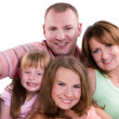 Happy family. Mother, father and two daughters — Foto Stock