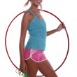Woman with hula hoop and jump rope. — Stock Photo #3786471