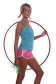 フラフープ、ジャンプ ロープを持つ女性. — ストック写真