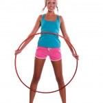 Woman with hula hoop — Stock Photo