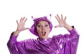 Donna in costume alieno — Foto Stock