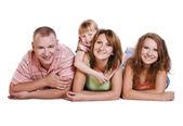 Šťastná rodina. matka, otec a dvě dcery — Stock fotografie
