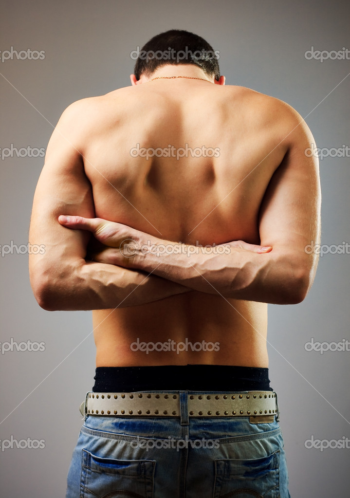 Guy with a naked torso in the studio — Stock Photo #2809788