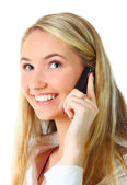 Happy woman on the phone — Stock Photo