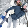 Young couple outdoors fun — Stock Photo