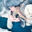 Royalty-Free Stock Photo: Young couple outdoors winter portrait