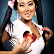 Sexy japanese woman with heart shape — Stock Photo #3071534