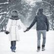 Young couple walking in a park — Stock Photo