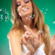Young fashion woman with soap bubbles — Stock Photo #3071623