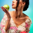 Young woman with two apples — Stock Photo