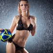 Young sexy woman football player — Stock Photo
