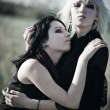Two goth women portrait — Stock Photo