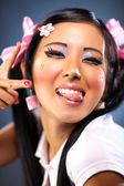 Young japanese woman tease face emotion — Stock Photo