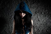 Young woman with hood on head — Stock Photo
