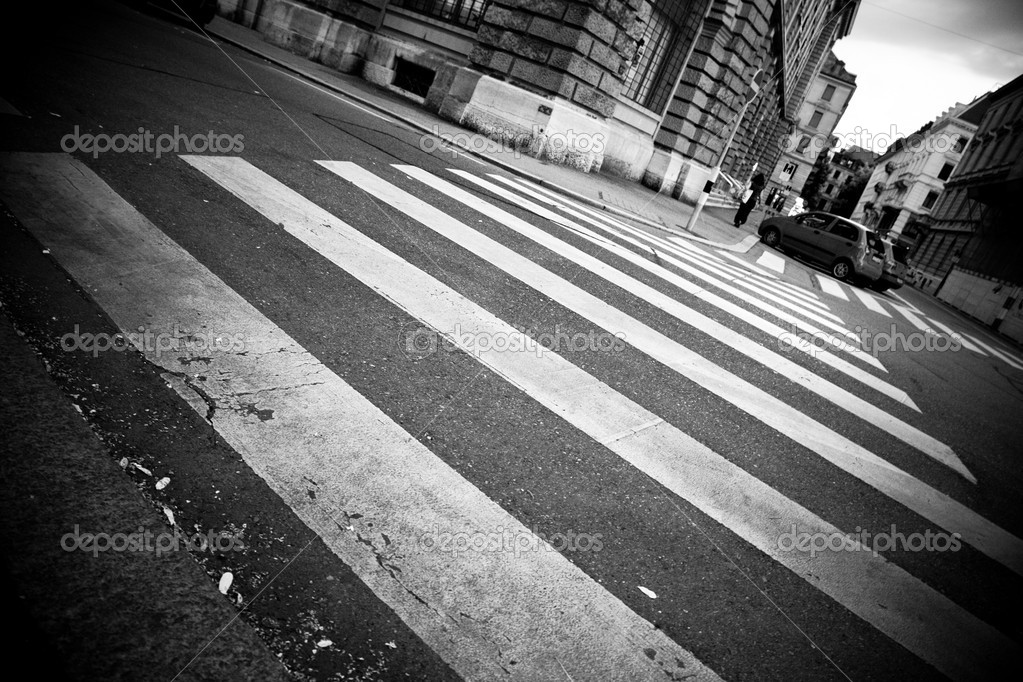 Crosswalk in a city. Black and white.  Stock Photo #3071350