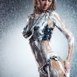 Young sexy woman with soap foam - Stock Photo