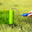 Young woman painting on grass - Stock Photo
