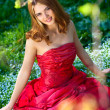 Princess in red dress — Stockfoto
