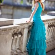 Young slim woman in dress — Stock Photo