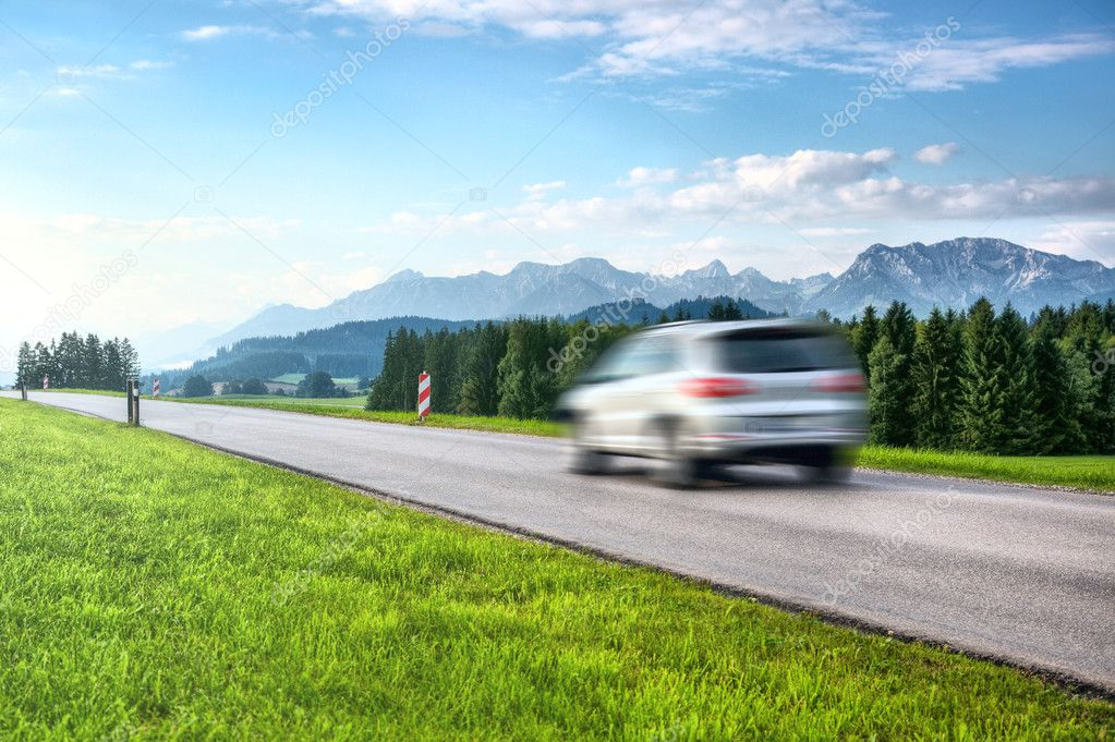 Mountains travel. Car blurred motion.  Stock Photo #3728089