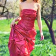 Young woman in red dress — Stock Photo #3738941