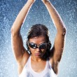 Young woman swimmer - Stock Photo