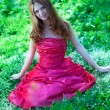 Princess in red dress — Foto Stock