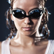 图库照片: Young woman swimmer portrait