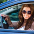 Woman in car portrait — Stock Photo #3739802
