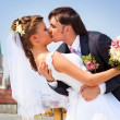 Young wedding couple kissing - ストック写真
