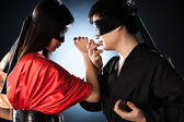Young japanese couple fighting — Stock Photo