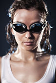 Young woman swimmer portrait — Stock Photo