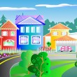 Street with houses - Stock Vector