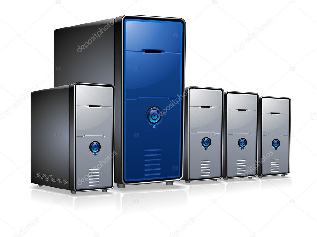 The array of highly detailed servers or computers.  Stock Vector #3186127
