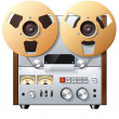 Stock Photo: Vintage reel-to-reel tape recorder deck