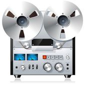 Vintage reel-to-reel tape recorder dek — Stockvector