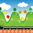 Train in green hills — Stock Vector #2737502