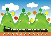 Train in the green hills — Stock Vector