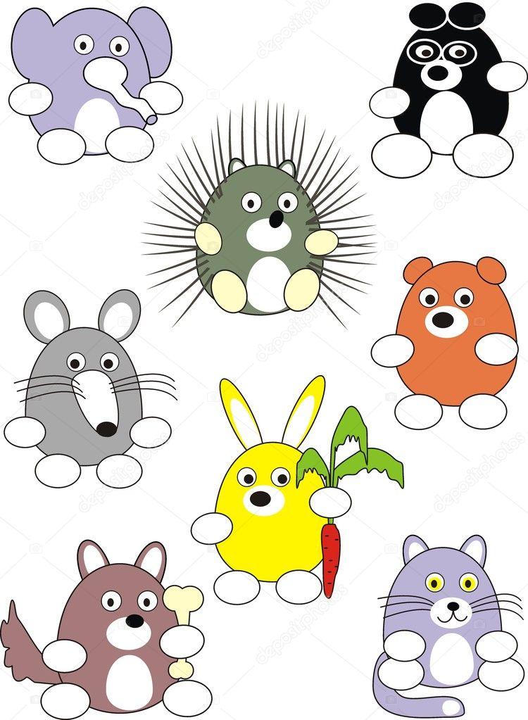 Cartoon animals set stock illustration