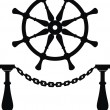 Stock Vector: Helm. Steering wheel and anchor chain