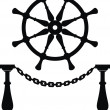 Helm. Steering wheel and anchor chain — Stock Vector