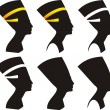 Six vector silhouettes of Nefertiti - Stock Vector